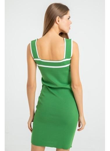 Foremia Triko Şerit Detay Kalın Askılı Elbise Yeşil